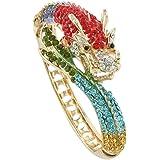 EVER FAITH Women's Austrian Crystal Cool Animal Fly Dragon Bangle Bracelet Gold-Tone