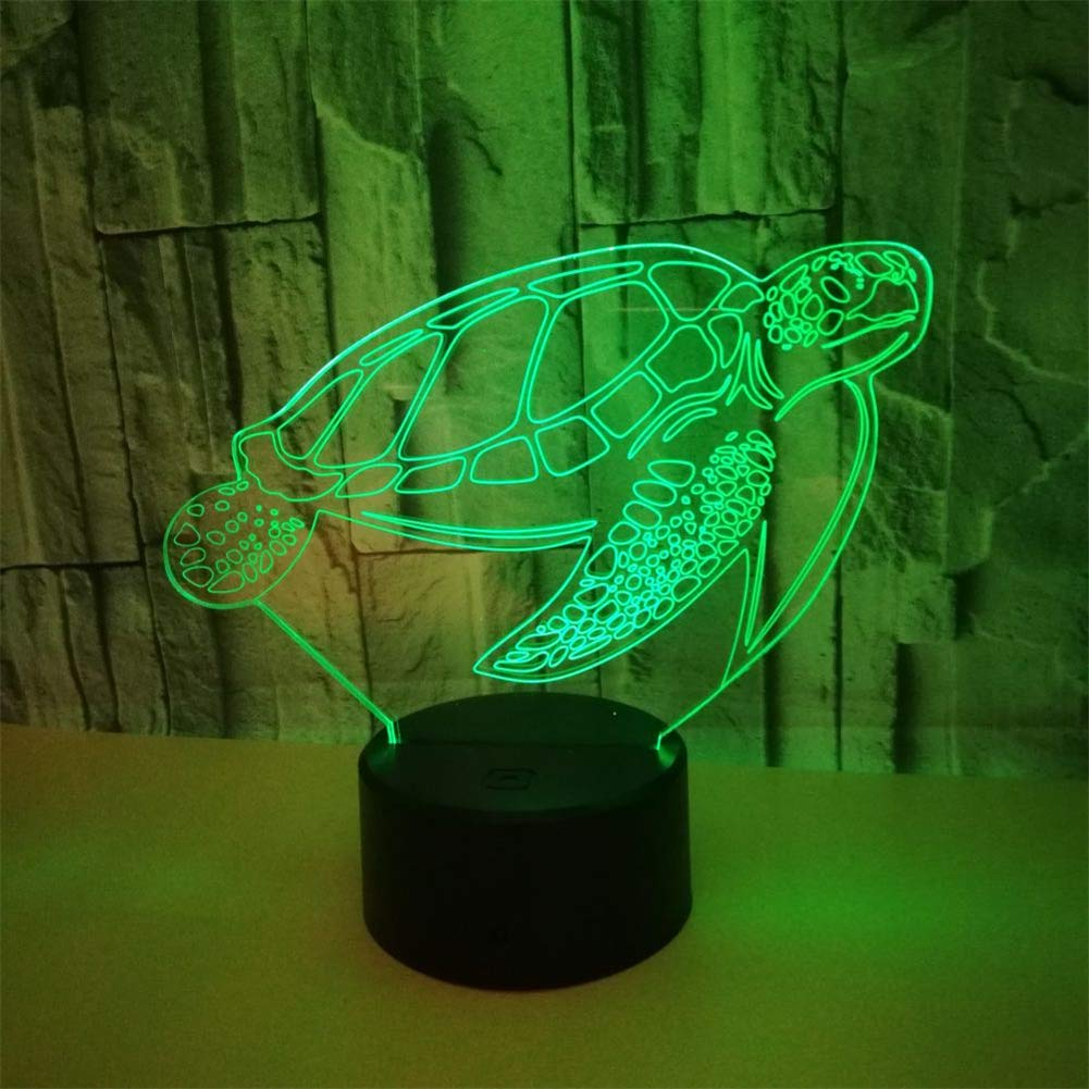 RUIYI Turtle Desk 3D Lamp Animal Visual Optical Illusion Light with USB Base 7 Color Change Bedside Lamps Girl Boy Kid Birthdy Gift Home Bedroom Decoration by RUIYI (Image #5)