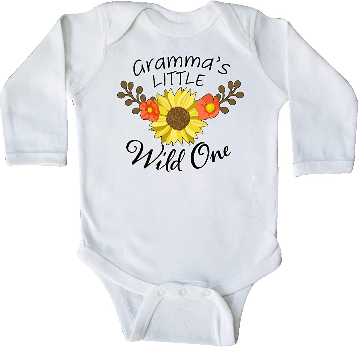 inktastic Grammas Little Wild 1 with Beautiful Sunflower Long Sleeve Creeper