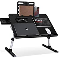 SAIJI Laptop Bed Tray Table, Adjustable Laptop Desk for Bed, Foldable Laptop Stand with Storage Drawer for Eating, Working, Writing, Gaming, Drawing (X-Large,Black)
