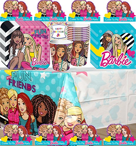 Barbie and Friends Party Supplies Birthday Supplies Decoration Pack - Variety Assortment Bundle of Invitations, Plates, Napkins, Cups, Table Cover and Birthday (Friends Party Invitations)