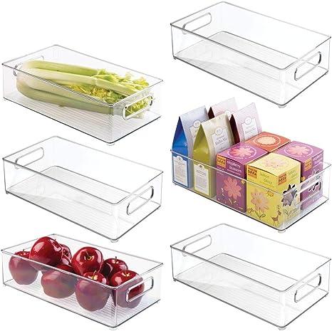 mDesign Juego de 6 bandejas de plástico para frigorífico o congelador – Cajas apilables con asas para almacenar alimentos y bebidas – Prácticos organizadores de nevera sin tapa – transparente: Amazon.es: Grandes electrodomésticos