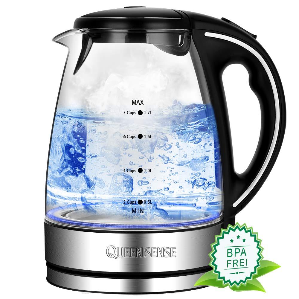 Queen Sense Hervidor de agua de cristal de: Amazon.es: Hogar
