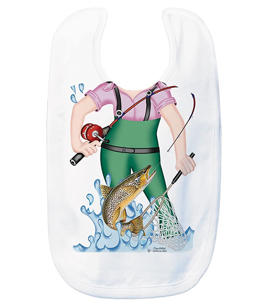 Just Add A Kid Baby Girl's Fishing for Trout Girl 1041 Baby Bib 0-6 Months White