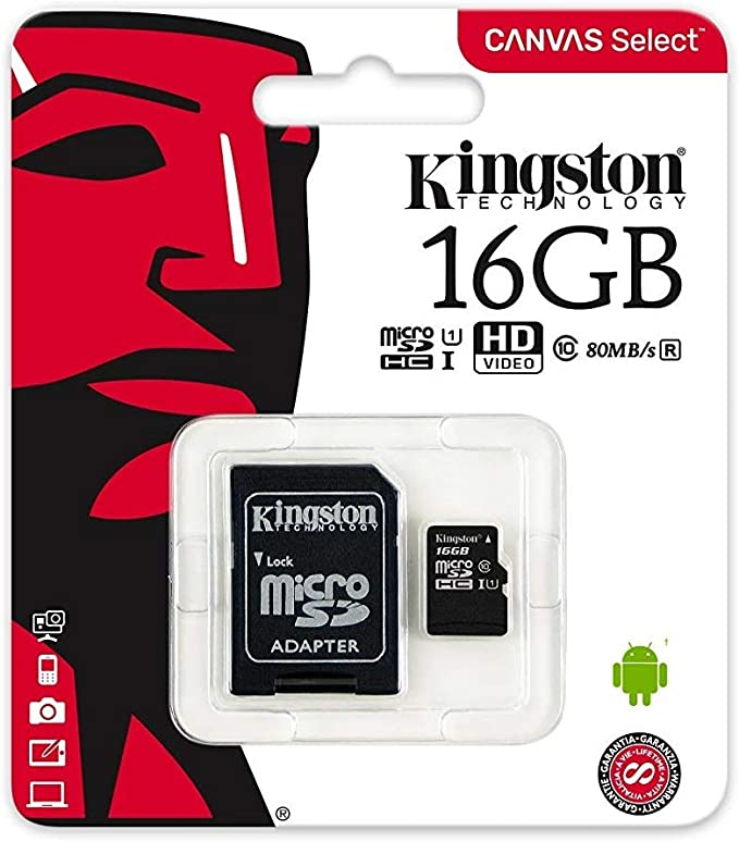 Kingston Canvas Select 16GB microSDHC Class 10 microSD Memory Card UHS-I 80MB/s R Flash Memory Card with Adapter (SDCS/16GB)