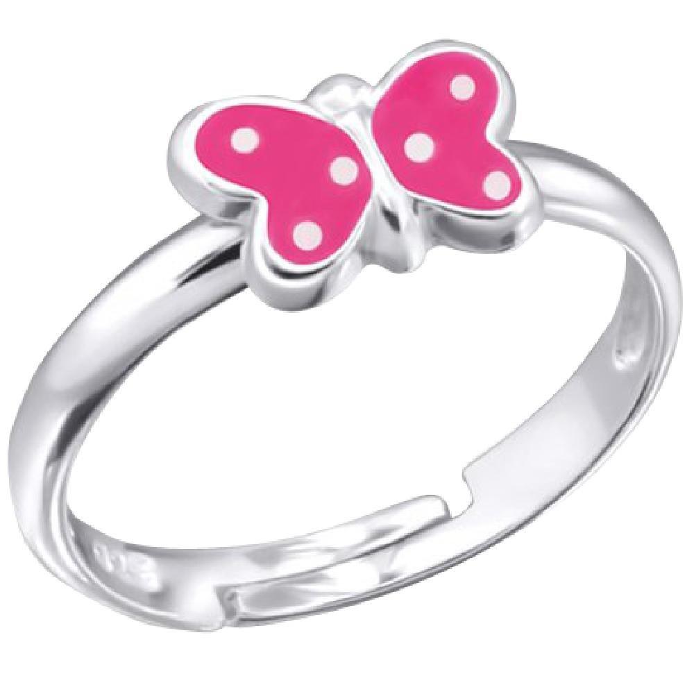 So Chic Schmuck - Verstellbarer Kinderring Pink Butterfly Pea Weiß Sterling Silber 925 LB6799