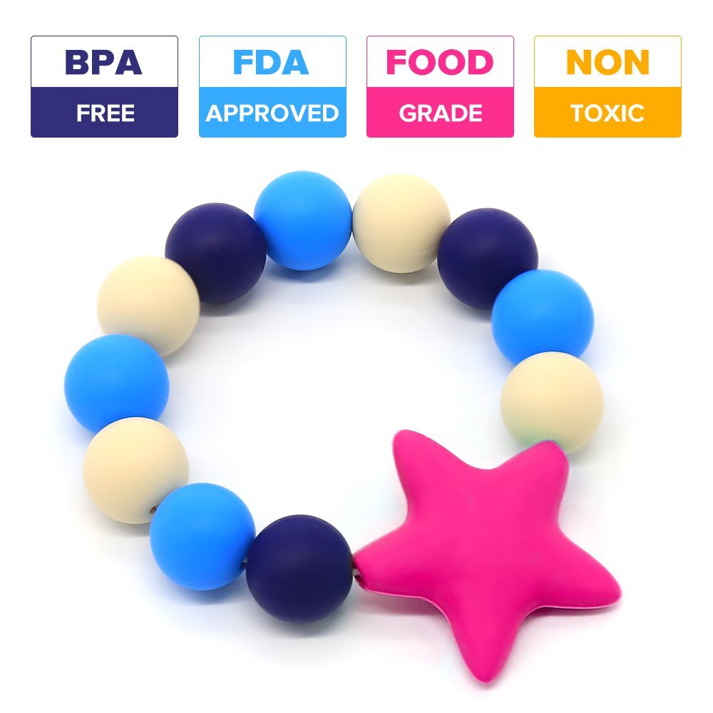 Baby Teether Ring Bracelet Silicone Teething Ring Food-Grade Baby toys BPA-Free (Blue) YuanSen