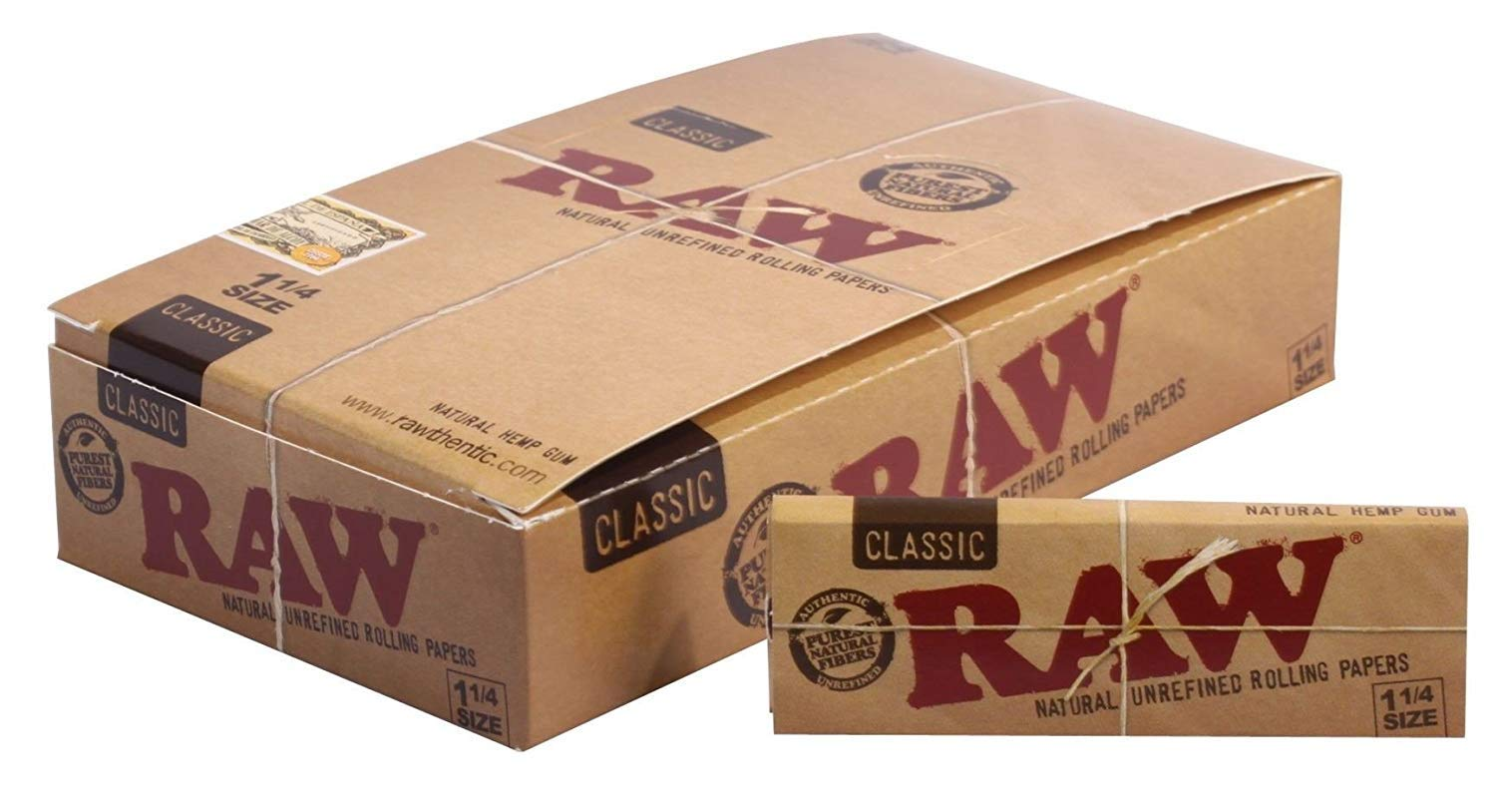 Raw Unrefined Classic 1.25 1 1/4 Size Cigarette Rolling Papers Full Box of 24 Packs by Raw