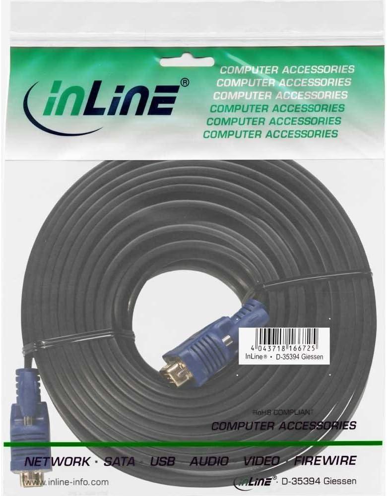 InLine 17723F S-VGA Flachkabel 15-polig HD Stecker auf Stecker 7 5m Schwarz