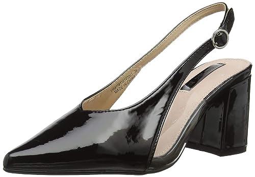 156e1674097 Lost Ink Women s Amy Perspex Block Heel Sling (Wide Fit) Back (Black 0001