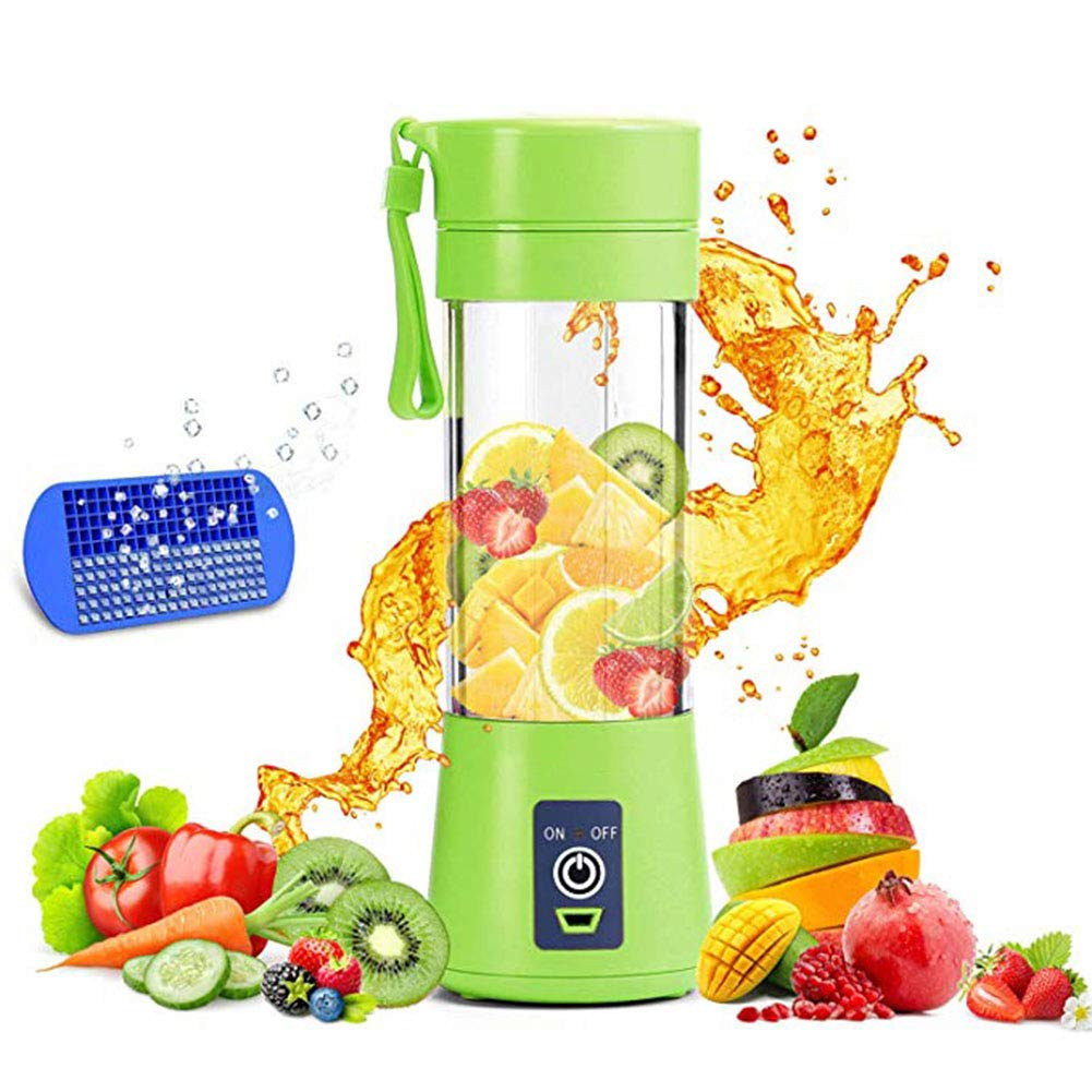Portable Blender, Smoothie Juicer Cup - Six Blades in 3D, 13oz Fruit Mixing Machine with 2000mAh USB Rechargeable Batteries, Ice Tray, Detachable Cup, Perfect Blender for Personal Use
