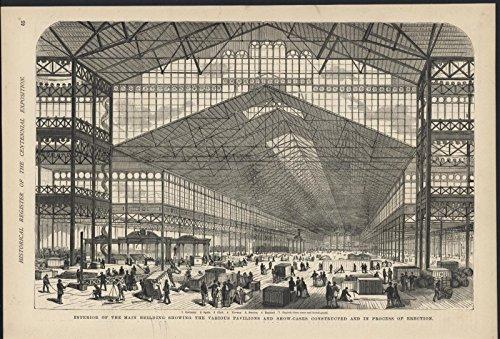 Interior Main Building Pavilion Erected Centennial 1876 antique wood - 1876 Engraving Antique