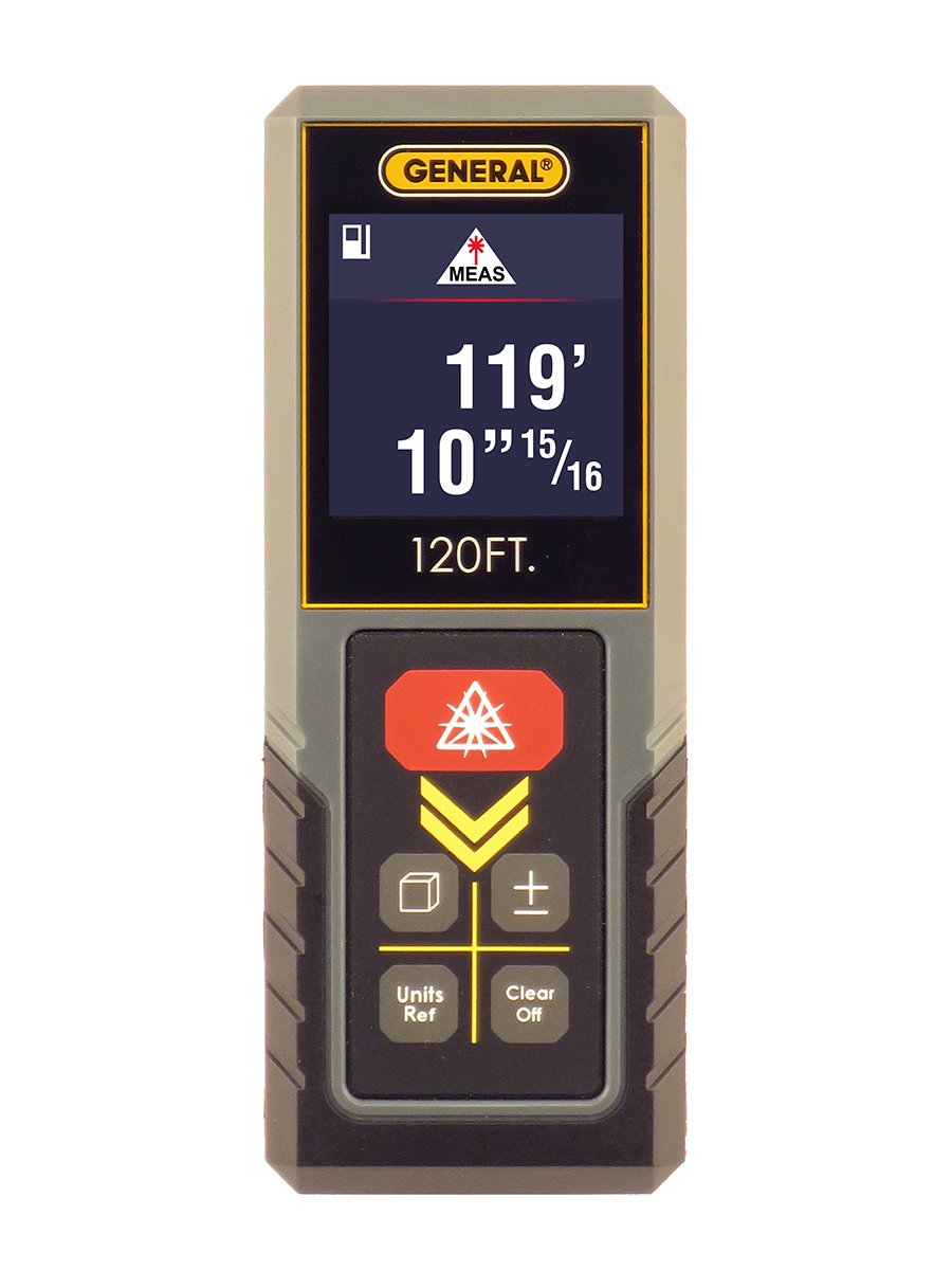 General Tools LDM3, 120' Compact Laser Measure With Continuous Measurement, Midpoint Finder And Hi-Visibility Color Display