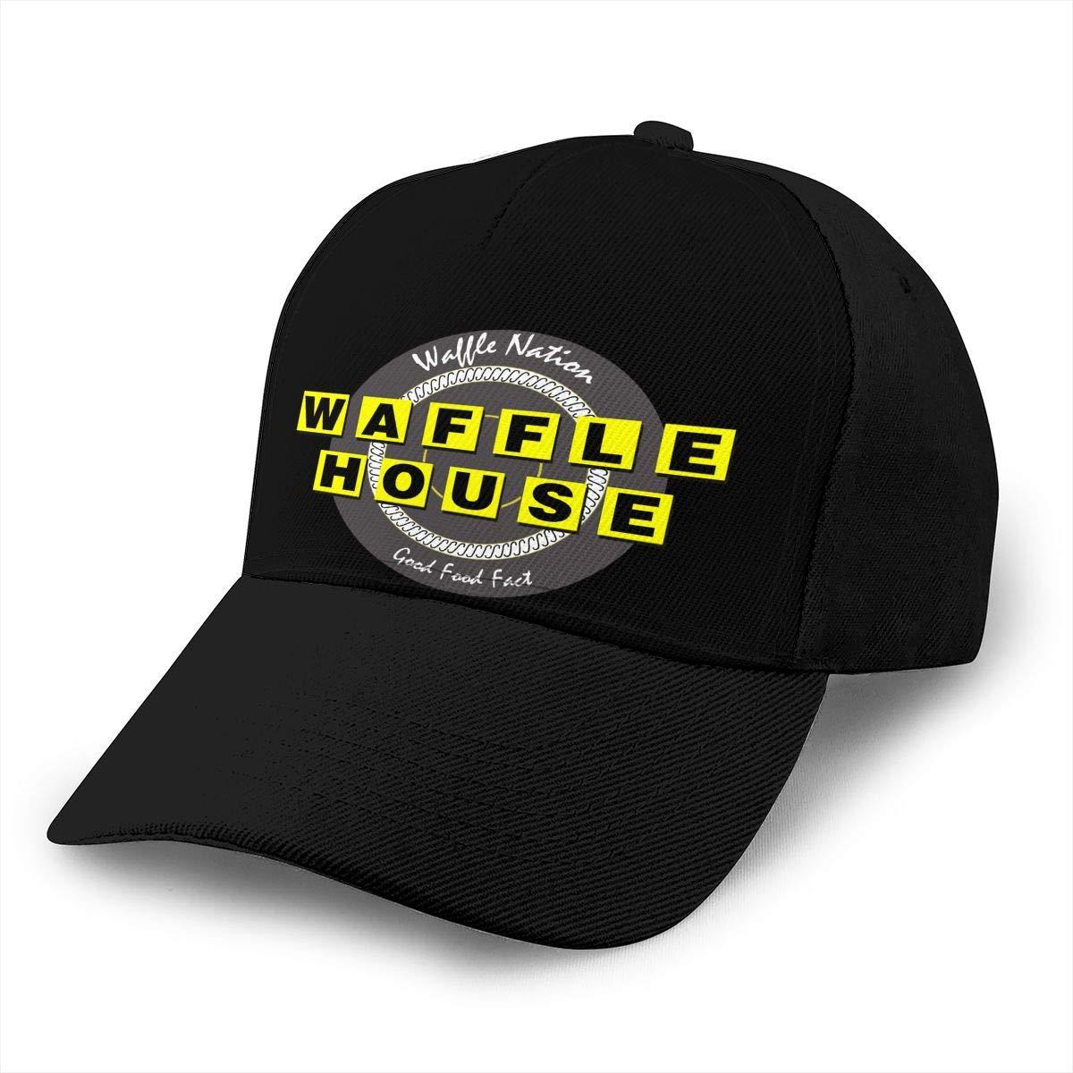 Adjustable Women Men Waffle-House Print Baseball Cap Flat Brim Cap Hats Hip Hop Snapback Sun Hat Boys Girls Black by Apolonia