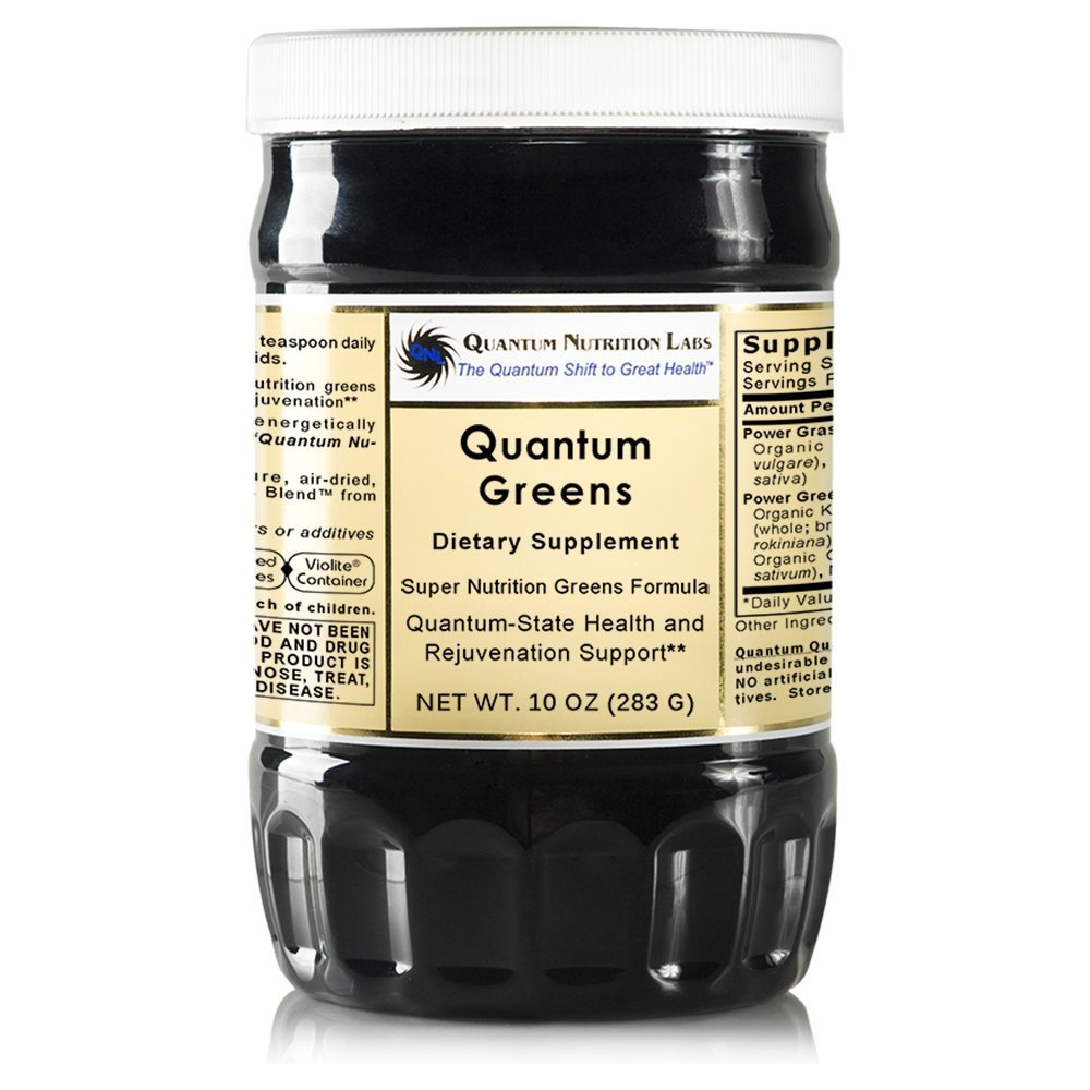 Quantum Greens, 40oz Powder 4 bottles - Super Nutrition Premier Greens Formula with Grass-Plus Blend for Quantum-State Health and Vitality Support