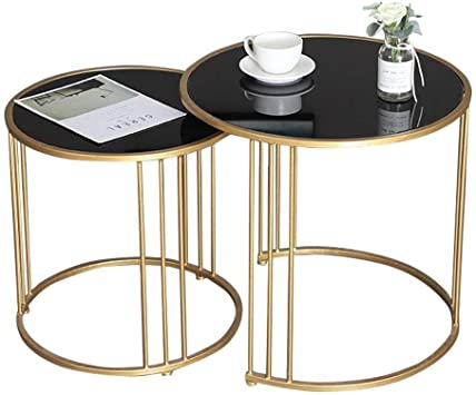 Amazon Com Round Modern Nest Coffee Tables For Small Spaces Nesting End Tables Stacking Tables Glass And Metal Set Of 2 Black Furniture Decor