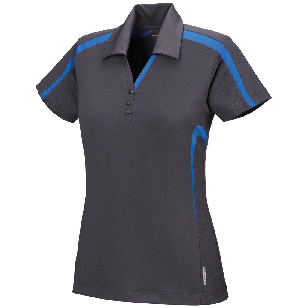 Ash City Womens Accelerate Performance Polo (Small, Black Silk/Nautical Blue)