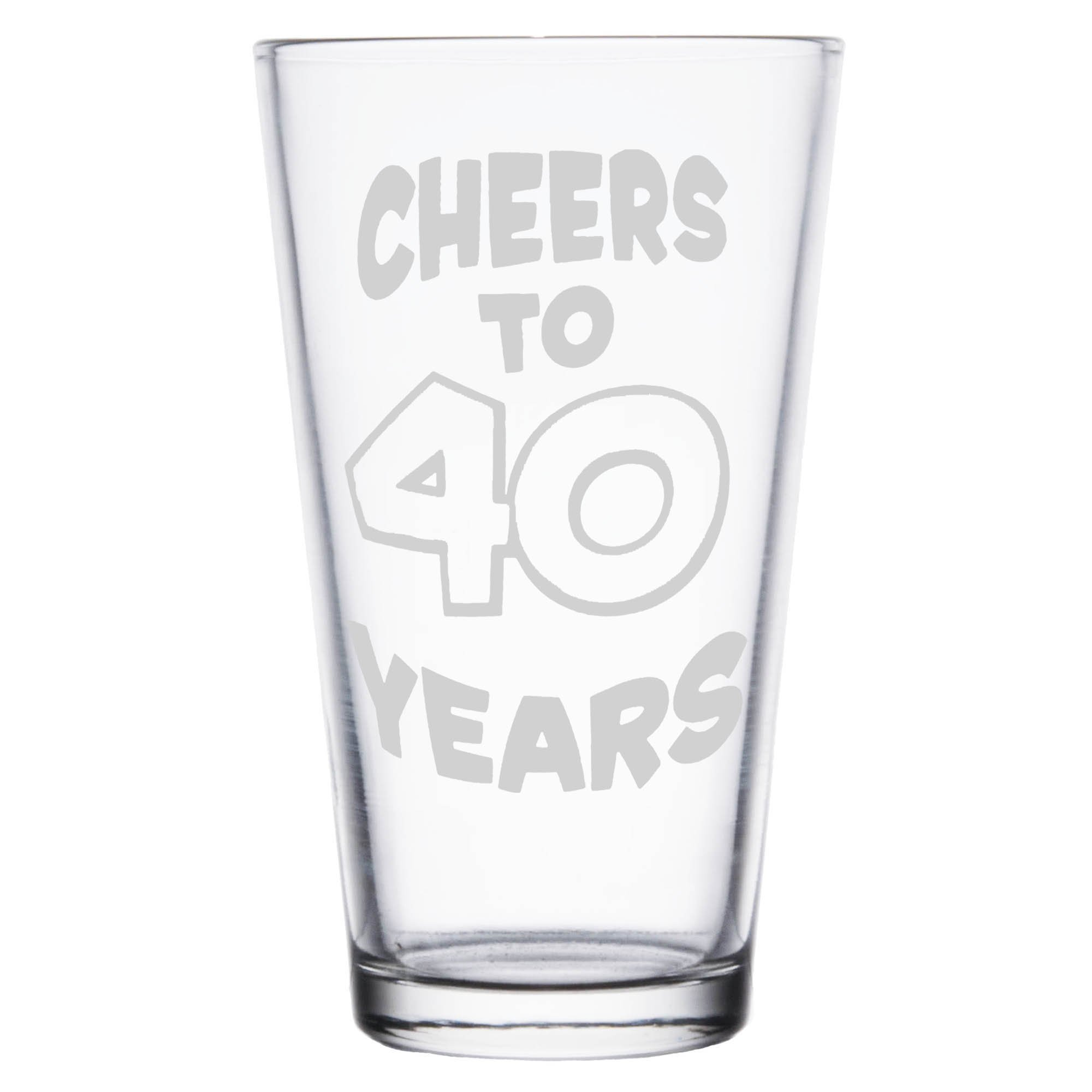 Shop4Ever Cheers To 40 Years Laser Engraved Beer Pint Glass ~ 40th Birthday Gift ~ (Clear, 16 oz.) by Shop4Ever (Image #2)