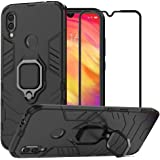 BetterAmy for Xiaomi Redmi Note 7 / Redmi Note 7 Pro Case,Hybrid Heavy Duty Armor Dual Layer Anti-Scratch Shockproof Defender Back Case Cover Tempered Glass Screen Protector (Black)