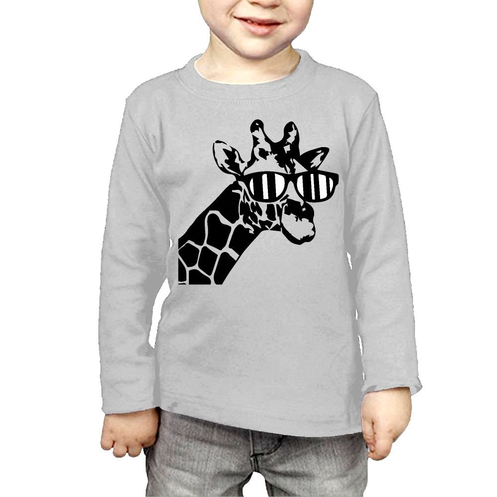 CERTONGCXTS Baby Girls' Little Boys' Giraffe Sunglass ComfortSoft Long Sleeve Tee