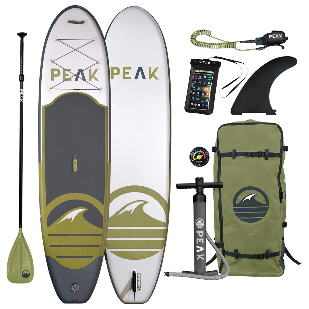Peak All Around Inflatable Stand Up Paddle Board Package | 10'6'' Long x 32'' Wide x 6'' Thick | Durable and Lightweight SUP | Stable Wide Stance | White