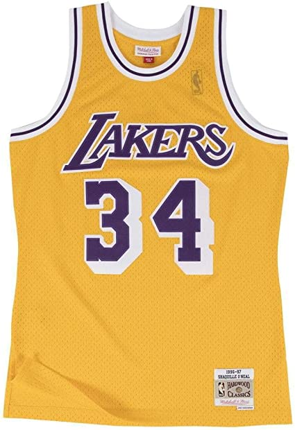 Amazon Com Mitchell Ness Yellow Purple Los Angeles Lakers Shaquille O Neal Swingman Jersey Clothing