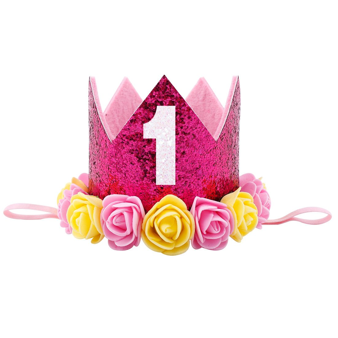 Missley Baby Crown Headband Rose Flower Princess Crown Cumpleaños Crown Head Accesorios para el cabello QQ-Crown-WhiteFlower-1