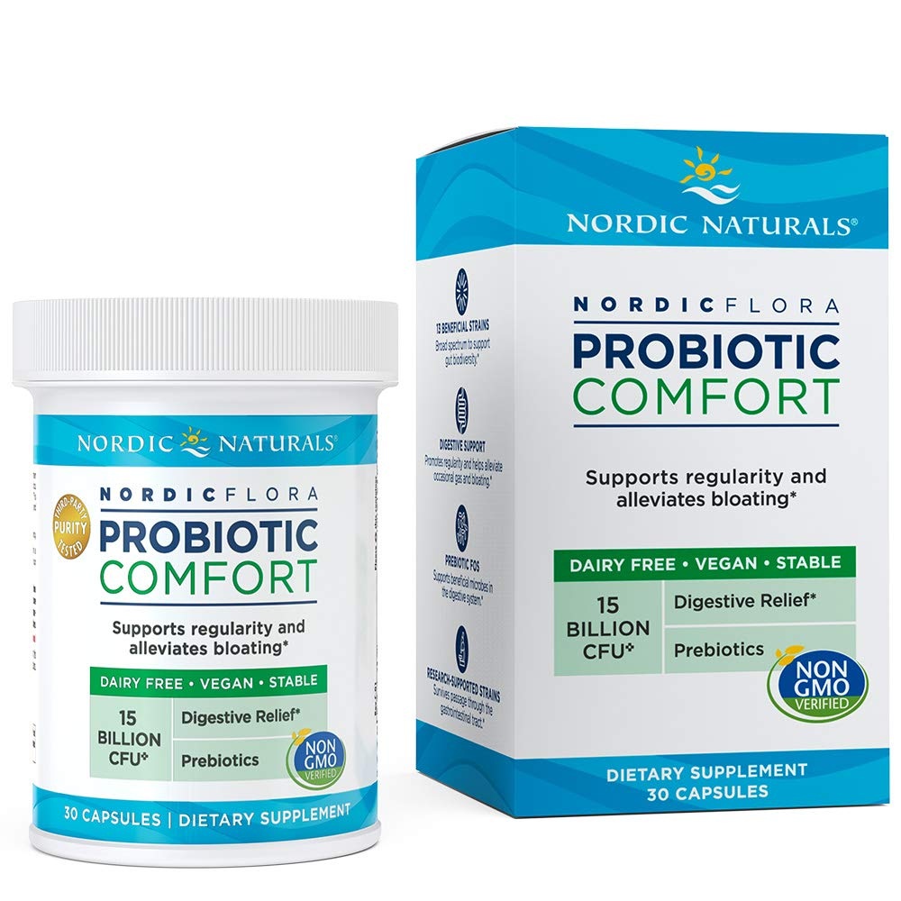 Nordic Naturals Flora Probiotic Comfort - Probiotic for Intestinal Health, For Those With Digestive Issues, 30 Capsules by Nordic Naturals