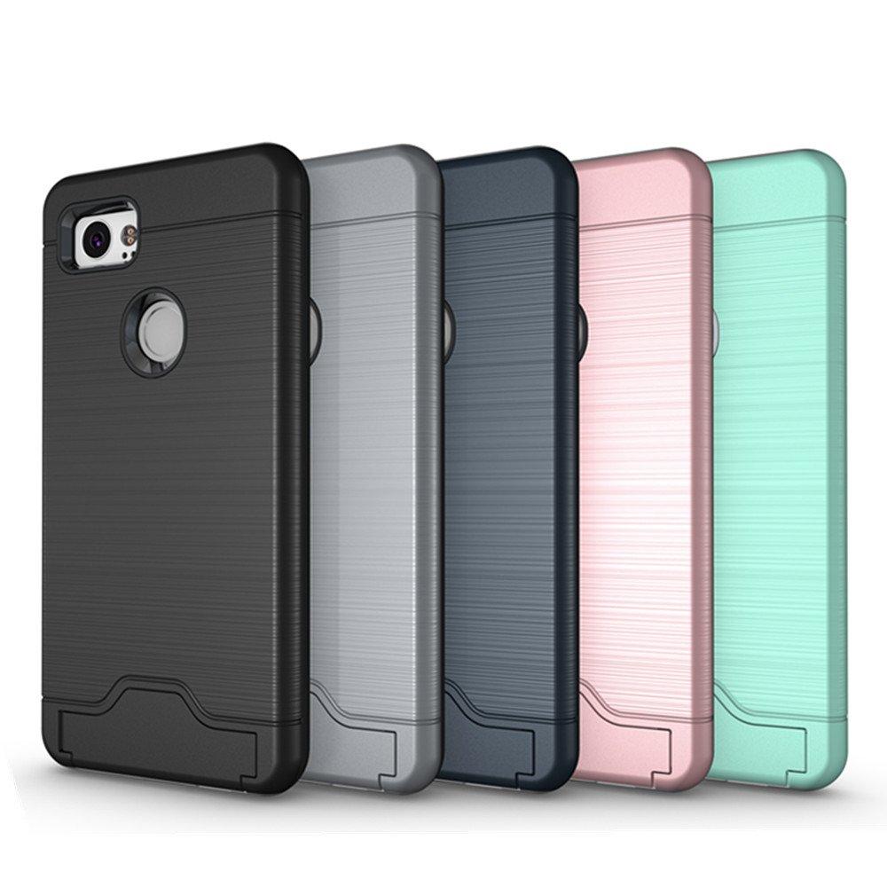 Google Pixel 2 Case, KAMII [Card Slot Holder] Shockproof Slim Fit Dual Layer Hybrid Wallet Case Protective Hard Cover Skin Card Holder with Built-in Kickstand for Google Pixel 2 (2017) (Aqua) by KAMII (Image #7)