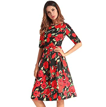 Mujeres cuello redondo manga media cintura alta Swing Midi Skirt Elegante Floral Colormatch cremallera Little Black