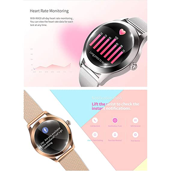 Smart Watch KW10,pantalla táctil redonda IP68 Smartwatch a ...