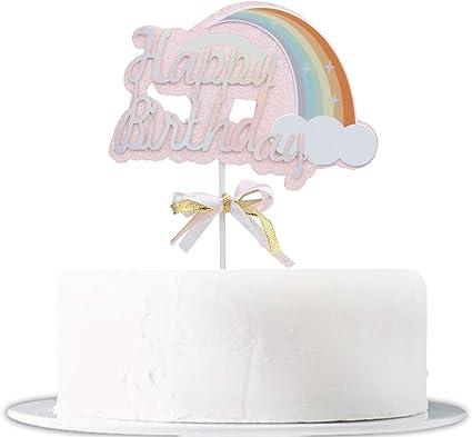 Amazon.com: Decoración para tarta de cumpleaños rosa con ...