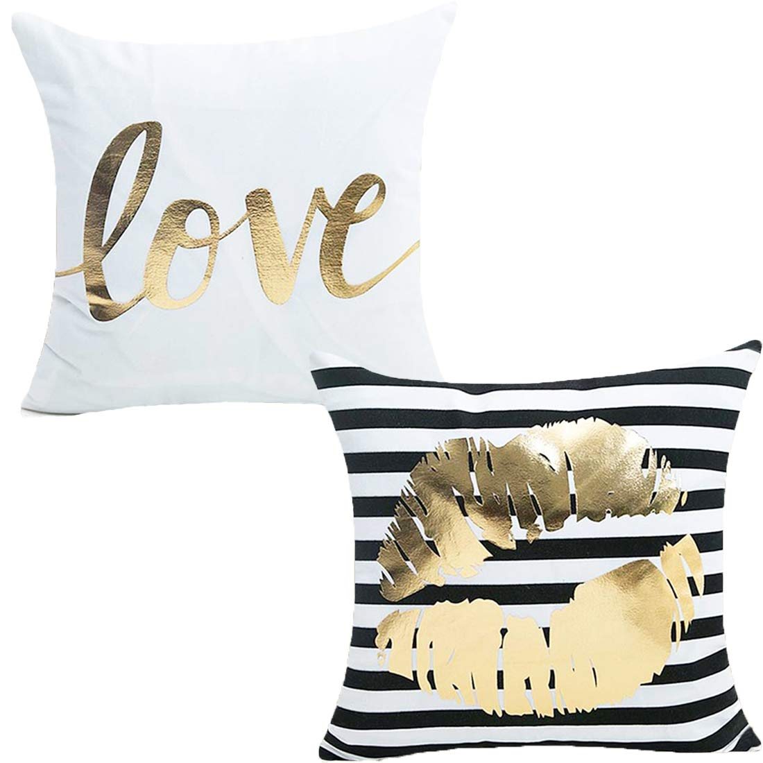 Misaya Bronzing Flannelette Home Pillowcase 18x18 Decorative Cushion Pillow Cover Gold Throw Pillow Covers Set of 2 (Love & Lips)
