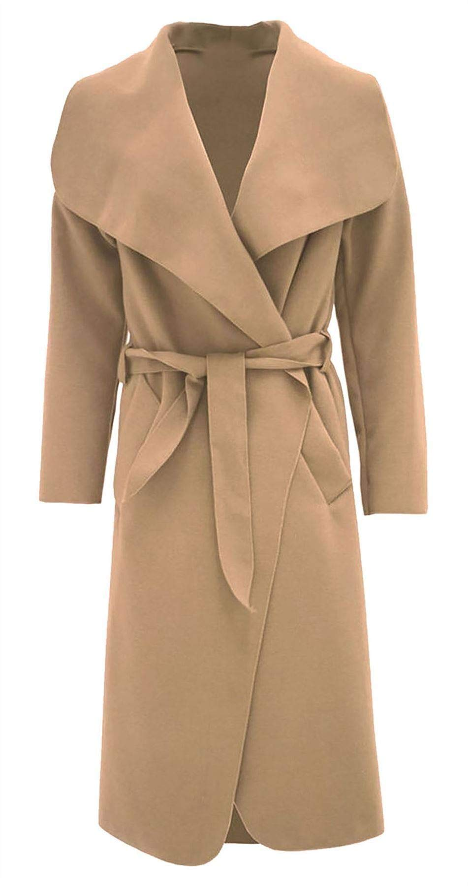 REAL LIFE FASHION LTD Womens Italian Long Duster Jacket Ladies French Belted Trench Waterfall Coat#(Camel Italian Long Duster Waterfall Jacket #US 10-12#Womens)