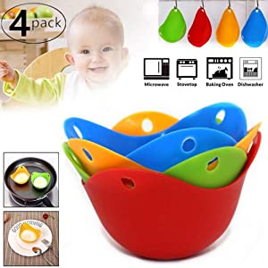 Silicone Egg Poaching Poacher Pods Egg Mold Bowl Rings Cooker Boiler Baking Cups Microwave Egg Poacher Kitchen Cookware Tools 4Pcs