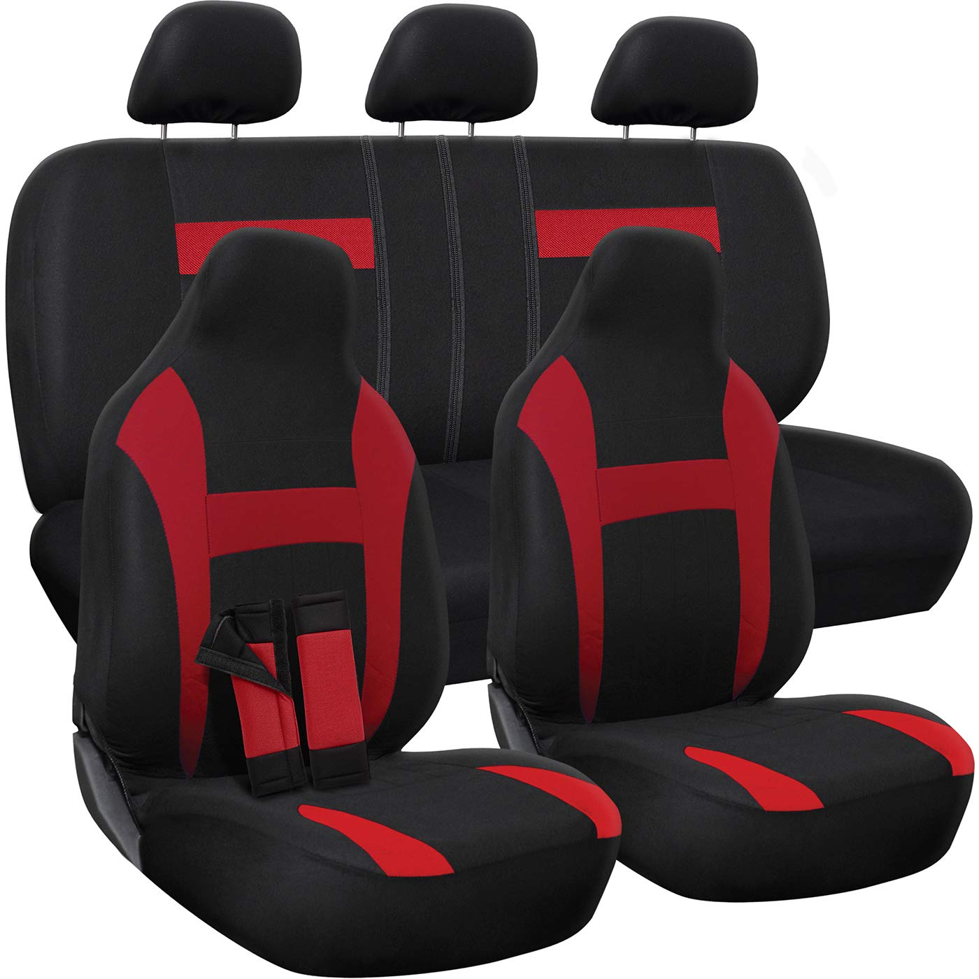 OxGord Car Seat Cover - Red/Black fits Car, Truck, Van, SUV - Full Set by OxGord
