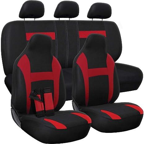 Pleasant Oxgord Car Seat Cover Red Black Fits Car Truck Van Suv Full Set Forskolin Free Trial Chair Design Images Forskolin Free Trialorg
