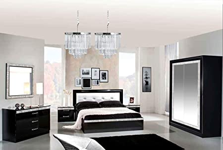 Armadio Design Camera Da Letto.Lignemeuble Glamour Laccato Nero Camera Da Letto Design Set Con