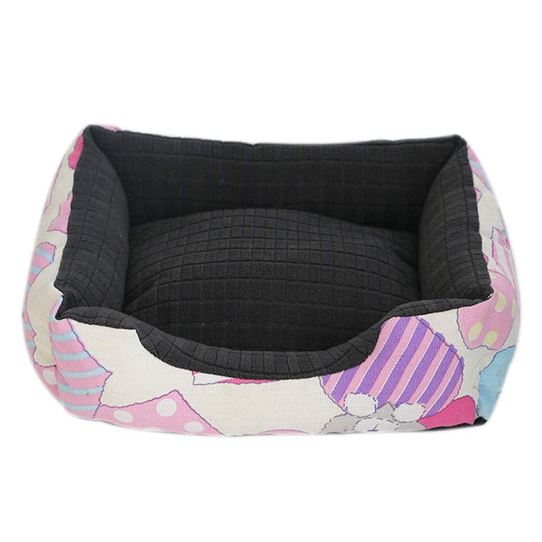 C  XlPink day Pet Bed Pet Large Kennel Cat Litter Removable Washable Canvas Warm Seasons Pet Mat Pet Supplies (color   D , Size   Xl)