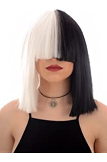 Long Black and White Blunt Cut Bob Costume Wig with Fringe 96fc51384