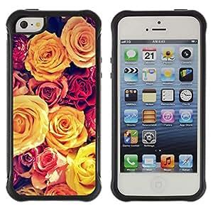 WAWU Funda Carcasa Bumper con Absorci??e Impactos y Anti-Ara??s Espalda Slim Rugged Armor -- rose vignette yellow bouquet spring love -- Apple Iphone 5 / 5S