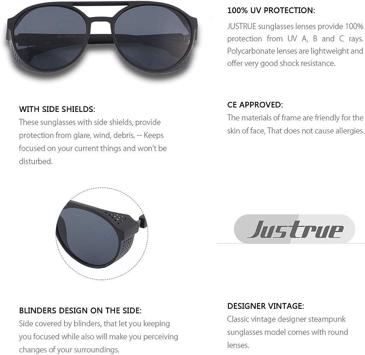 Women/'s Men/'s Brand New Side Shield Round Aviator Sunglasses 100/% UV protection