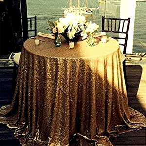 "SoarDream Sequin Round Tablecloth Gold 50"" Round Sparkly Christmas Tablecloth Wedding Tablecloths"