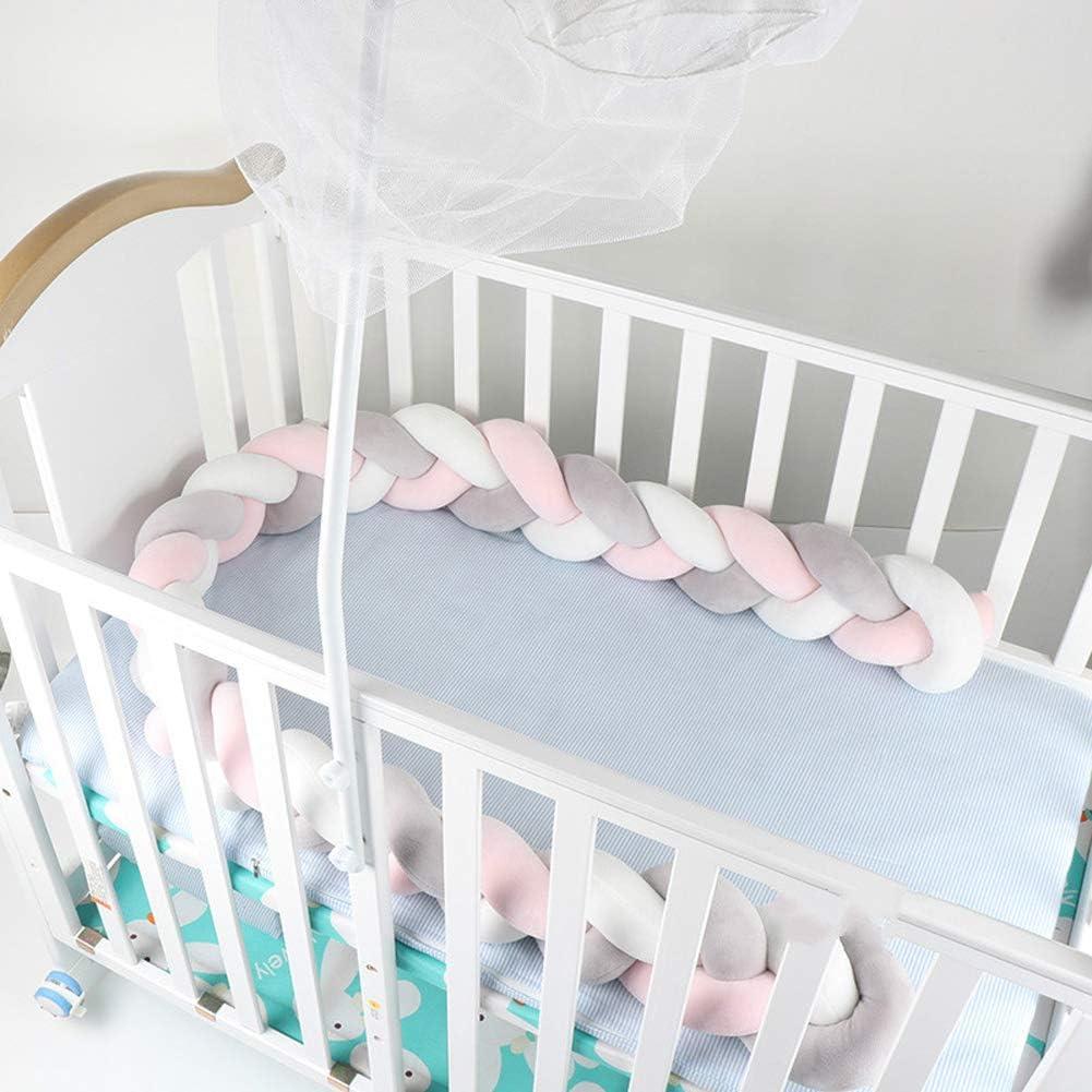 2m Rosa y Azul Cama Beb/é Coj/ín Trenzado Parachoques de Cama de Beb/é Parachoques Protector Cuna Chichonera de Cuna para Cunas y Camas de Beb/é