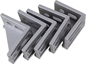 BQLZR 58x58mm Grey Aluminum L Shape 90 Degree Brace Corner Joint Unilateral Right Angle Bracket Fastener for Chests Screens Windows Furniture Pack of 5