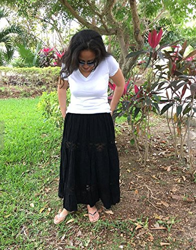Mexican black maxi long skirt by Italivii Shop
