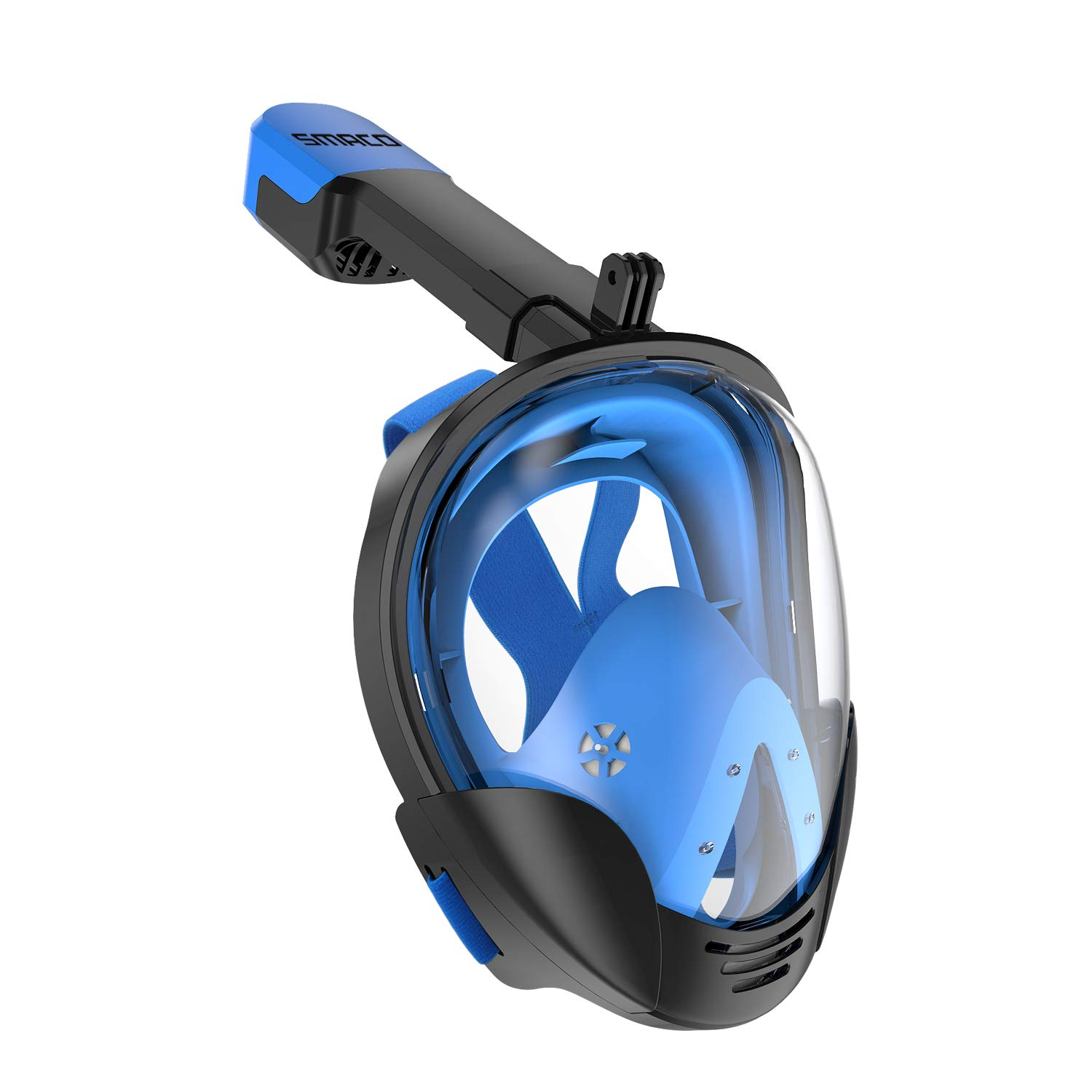 SMACO Full Face Snorkel Mask with UV Protection Anti-Fog Anti-Leak Snorkeling Mask with Detachable Camera Mount 180° Panoramic View Swimming Mask for Adults and Youth (Black/Blue, L/XL) by SMACO