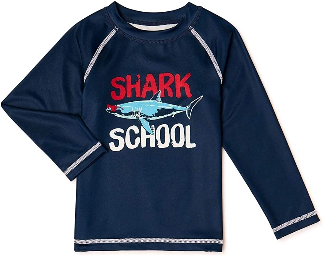 Shark School Navy Blue Long Sleeve Rash Guard