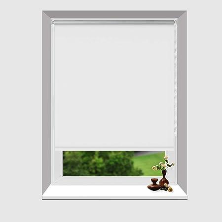 DoNey Thermo Rollo Verdunkelung Klemmfixrollo Rollo Fenster reflektierende Thermofunktion 70 x 170 cm Weiß für Fenster