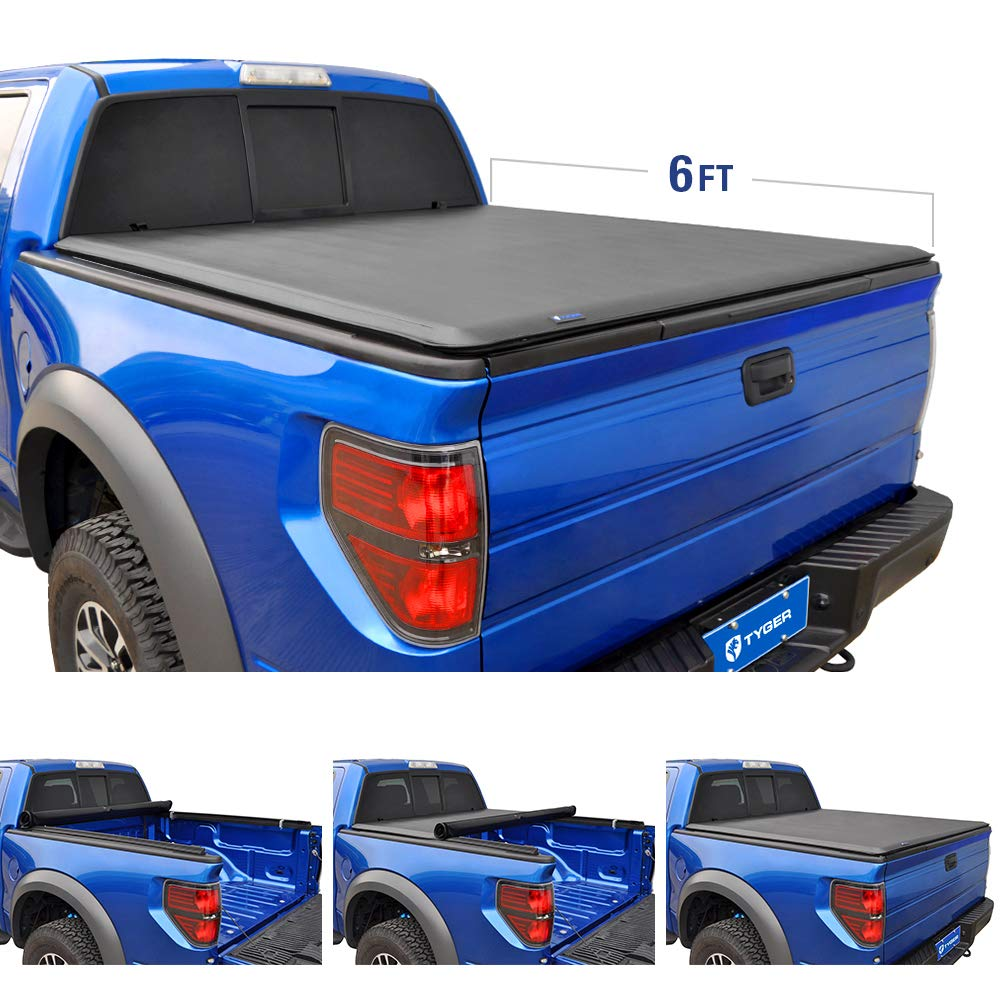 Tyger Auto T1 Roll Up Truck Bed Tonneau Cover TG-BC1T9037 works with 2005-2015 Toyota Tacoma   Fleetside 6' Bed   For models with or without the Deckrail System